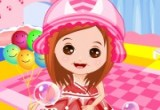 لعبة تلبيس طفلة الفقاعات الوردية