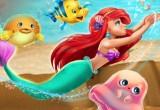 لعبة الاميرة ارييل والسباحة في المحيط