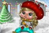 لعبة الطفلة الجميلة تلعب في الثلج