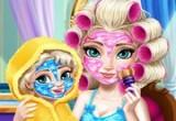 لعبة تنظيف بشرة إلسا الأم وابنتها