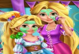لعبة تنظيف بشرة رابونزيل الأم وابنتها